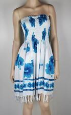 Ladies HIBISCUS Strapless White / Blue Beachwear Sarong Dress Sz 10 - 16 #F56