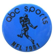 "NFL 1981 ABC SPORTS TV employee 1.75"" FOOTBALL pinback button ^"