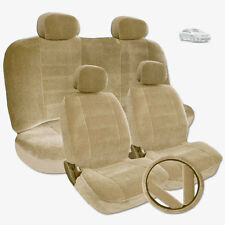 PREMIUM GRADE BEIGE VELOUR FABRIC CAR SEAT STEERING COVERS SET FOR TOYOTA