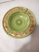 Mid Century Olive Green & Gold Ashtray Made In Italy Numbered 7/177/2 6""