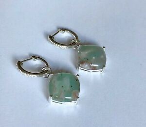 Large 15.93ct Natural Aquaprase™ Earrings 'CERTIFIED' - 925 Sterling Silver BNWT