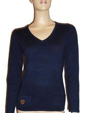 Luxe Oh` Dor 100% Cashmere Luxury V Neck Sweater Dark Blue Navy 34 XS/S