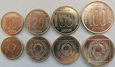 Yugoslavia set of 4 coins 1988-89 (10+20+50+100 dinars) UNC KM# 131-134