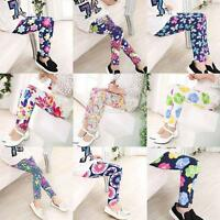 Baby Kids Girls Floral Leggings Stretchy Pants Casual Trousers 1-12 Years Old