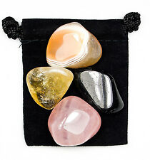 POSITIVE THOUGHTS Tumbled Crystal Healing Set = 4 Stones + Pouch + Description