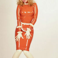 Women Sexy Pack Hooded Servant Latex Rubber Dress Tight Skirts Size XXS-XXL