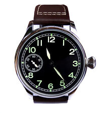 44mm PILOT's Hand Wind 6497 Mechanical Aviator's Army Military Steel Wrist Watch