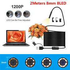 2M 3in1 Usb Endoscope Video Camera 8mm 8Led Borescope Inspection For Android Pc