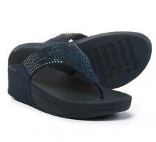 Ladies Fitflop Flare Rhinestone Thong Wedge Sandals》Flip Flops》Super Navy》11
