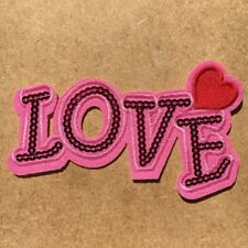 1pc Love Pink Heart Sequin Embroidered Cloth Iron On Patch Applique #1036