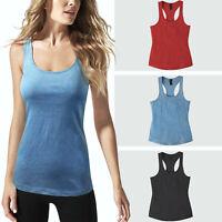 Womens Racerback Tank Top Stone Washed Atheltic Yoga Pilates Gym Shirts Casual