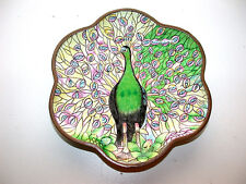 Gorgeous Chinese Enameled Painted Peacock Scalloped Dish by B. YOO of Chinemel