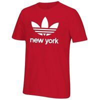 Adidas Men's Red Trefoil City New York T-Shirt