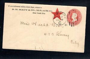 1881 Fancy Cancel New York, N.J. Stat. C, Sep. 2nd, Sc#U143 to Hecht Bros. City