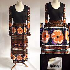 Vintage 60s 70s Spinney Black Orange Maxi Dress Hippy Boho Size 8 10