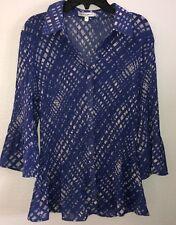 Fashion Bug Women's Sheer 3/4 Sleeve Button Down Purple Polo Blouse - Size M