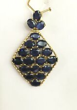 14k Solid Yellow Gold Cluster Diamond Shape Pendant, Natural Sapphire 3.5TCW