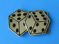 Lucky Dice Chrome Belt Buckle - Gambling Roll the Bones Gambler Double Die Cubes