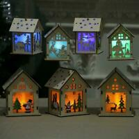 vintage Xmas tree ornaments Wooden glowing house christmas decorations job lot S