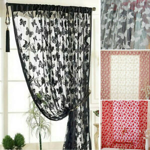 Lace Drape Window Curtain Polyester Sun Screen Protector Butterfly Printed Decor