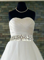"Bridal ""Victoria"" Diamante Rhinestone Crystal Applique Wedding Dress/Belt Outfit"