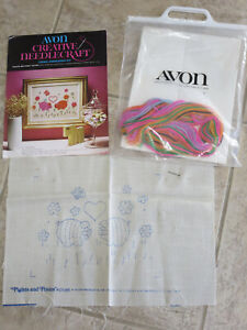 Avon Creative Needlecraft Crewel Embroidery Kit Vintage Piglets & Posies Vintage