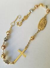 "14k Solid 3 color Yellow Gold Rosary Beads virgin Mary Cross bracelet 7-735"" lng"