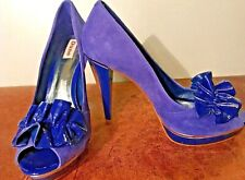 Duna zapatos talla 6 EUR 39 Azul Púrpura Cuero De Gamuza Tacones Peep Toe Fiesta Boda