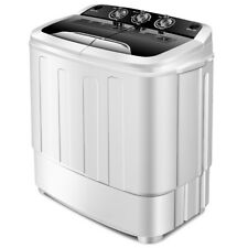 Compact Mini Twin Tub 13lbs Washing Machine Washer Spin Spinner Black &White New