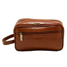 Ashwood-Castagno Marrone Buffalo Pelle a concia vegetale Chelsea Wash Bag