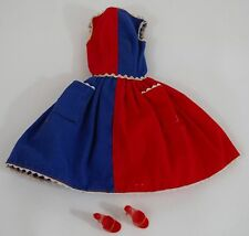 BARBIE DOLL VINTAGE ORIGINAL 60s RED AND BLUE DRESS W/ SHOES CLOTHES ACCESSORIES