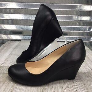 Jessica Simpson Sampson Faux Leather Wedge Heel Career Shoe Size 5.5