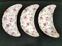 Vintage Lefton Rose Chintz Bone China Crescent Dish Hand Painted