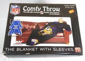 NFL Minnesota Vikings Comfy Throw Blanket with Sleeves