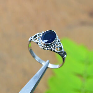 925 SOLID STERLING SILVER FACETED BLUE SAPPHIRE RING-8.5 US A364