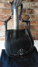 NICOLE FARHI BLACK LEATHER SADDLE SHOULDER BAG FRONT FLAP LOOP FASTENING REF:G