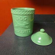 "Longaberger Pottery Mulligan Green Dog Biscuits Large Jar w/Lid Ceramic 10"""