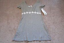 Blondie & Me Brown & White Checks Rayon Acetate Daisies Empire Dress Sz 9/10 NWT