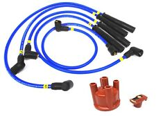Magnecor 8mm Blue Ignition HT Leads Set Ford Escort Mk4 RS Turbo + Cap + Rotor