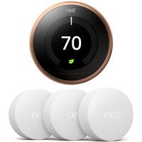 Google Nest Learning Thermostat 3rd Gen, Copper w 3x Temperature Sensor