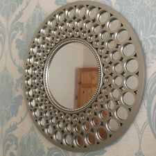 Large silver round mirror beaded art deco style metallic round silver mirror