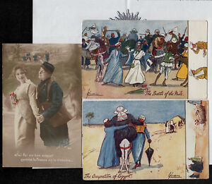 s3741) 3 x POSTCARD FROM WW1 FROM AUSTRALIAN SOLDIER SGT. PERCY NAIRN  27Btn.