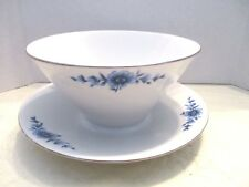 Eschenbach Wht.Porcelain Blue Flowers Rnd.Gravy Boat Attached Underplate Germany