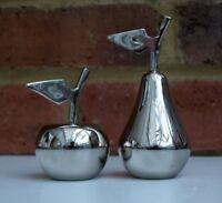 Salt and Pepper Pots Apple & Pear Stylish Modern  Metal Cruet Set 6.5cm New