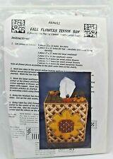 """Fall Flowers Tissue Box"" Plastic Canvas Needlepoint Design Kit #804012 New!"