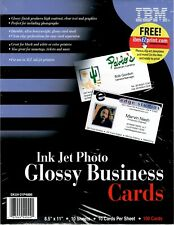 """InkJet Photo Glossy Business Cards 8.5 x 11"""" 100 Cards Clean Edge NEW"""