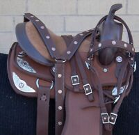 """USED 13"""" SILVER BROWN YOUTH KIDS WESTERN SHOW BARREL RACING TRAIL HORSE SADDLE"""