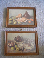 Vintage 1960 Henk Bos Still Life Lithographs Framed Behind Glass: Set of Two