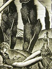 Lynd Ward 1930 MAN & WOMAN LOVERS in the FOREST ADULTRY Art Deco Print Matted