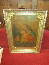 Quadro Gesù con bambini oleografia in cornice in foglia oro - epoca fine '800